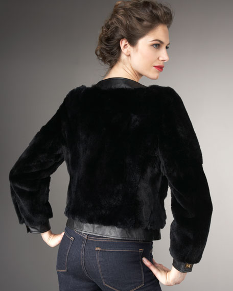 Leather-Trim Fur Jacket