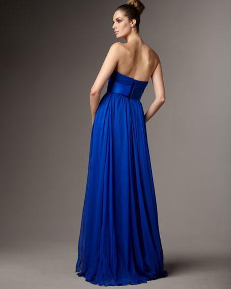 Strapless Satin-Waist Gown