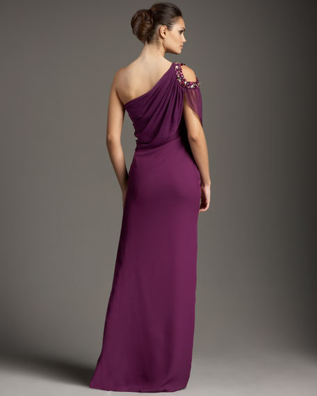 One-Shoulder Overlay Gown