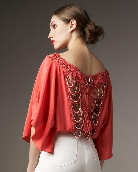 Beaded Back Silk Blouse