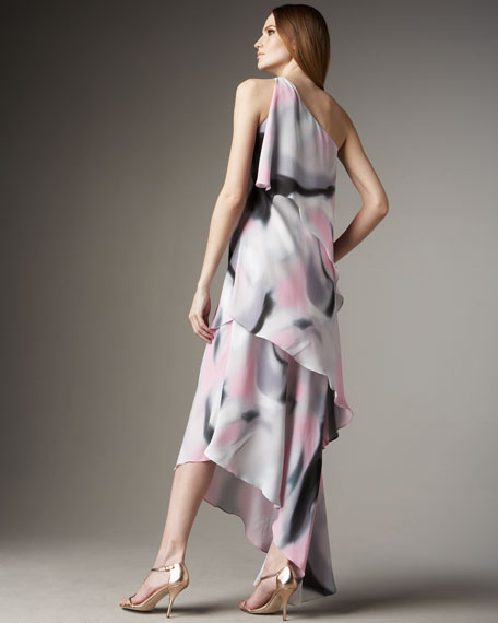 Tiered Abstract-Print Dress