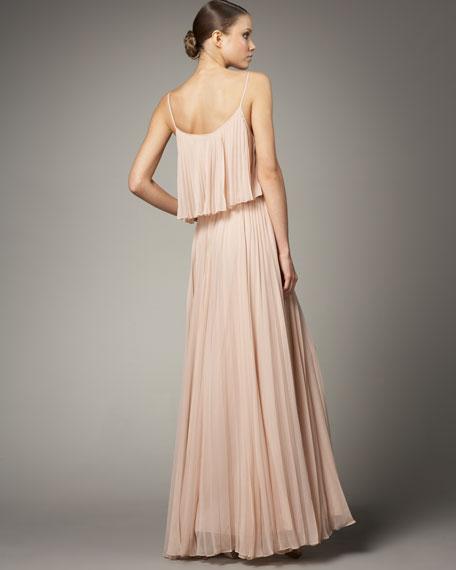 Pleated Silk Dress, Rose Gold