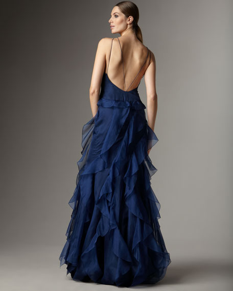 Beaded Organza-Bottom Gown