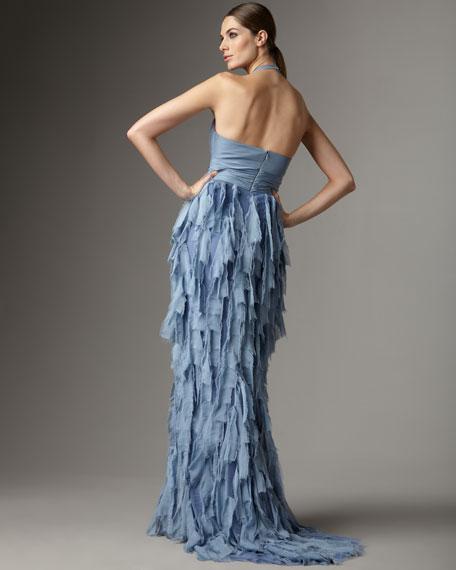 Chiffon Tiered Halter Gown