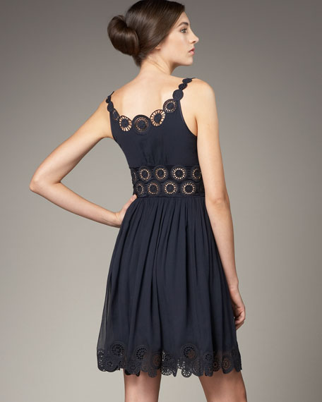 Sleeveless Dress with Cutout Embroidery