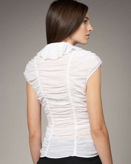 Ruched Ruffle-Front Top