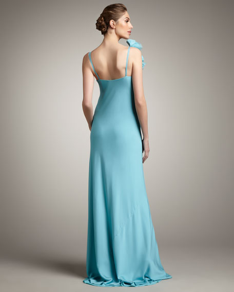Flower-Shoulder Gown