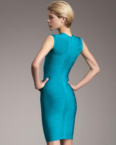 Contrast-Neck Dress