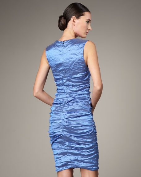 Square-Neck Ruched Dress