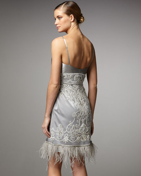 Feather-Bottom Embroidered Dress