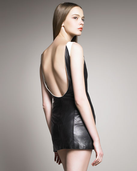 Leather Low-Back Sheath Dress
