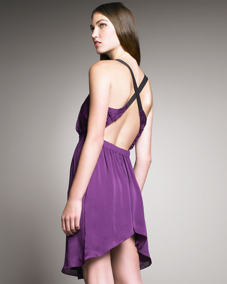 Crisscross-Back Silk Dress