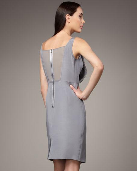 Ruffle Silk Sheath Dress