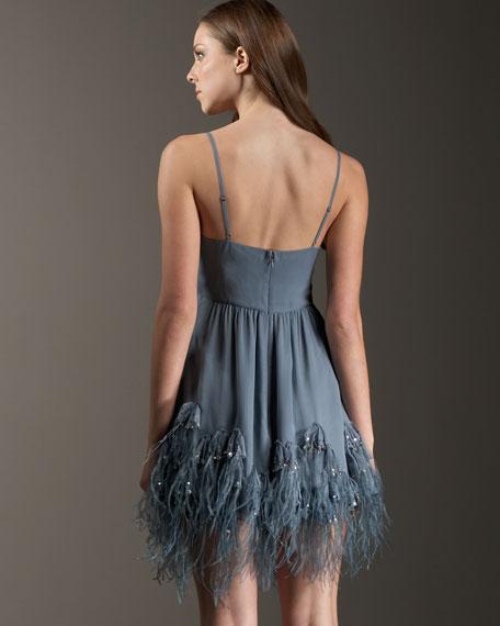 Fly Away Feather-Hem Dress