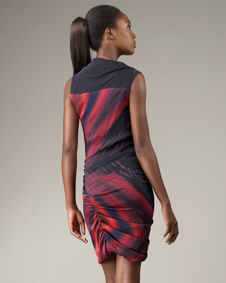 Printed Side-Drape Dress