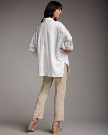 Linen Straight-Leg Pants, Petite
