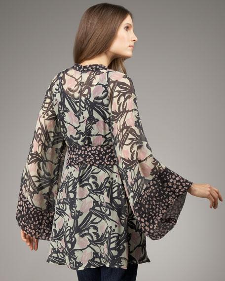 Kimono Mixed-Print Tunic