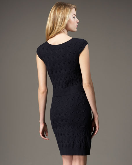 Belted Cable-Knit Dress