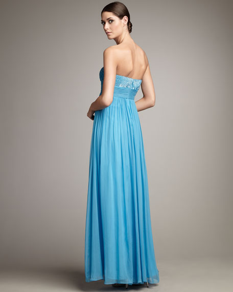 Strapless Sequin-Bodice Gown