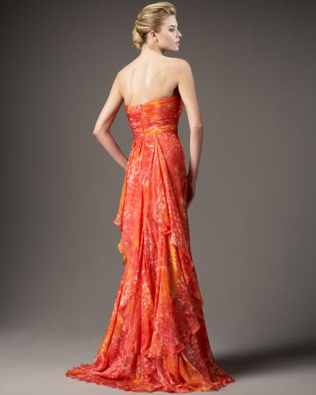 Floral Flutter-Back Gown