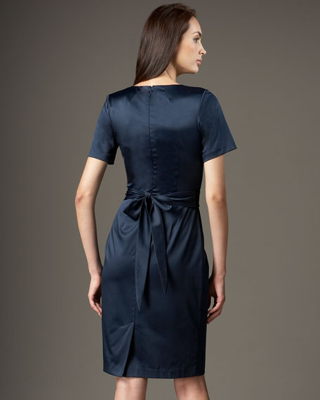 Tie-Detail Sateen Dress