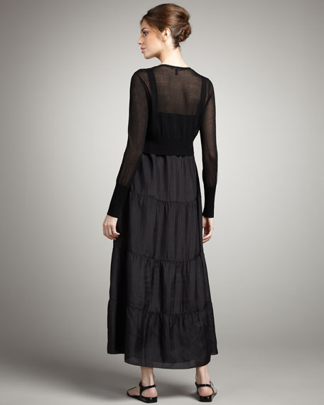 Tiered Silk Dress, Petite