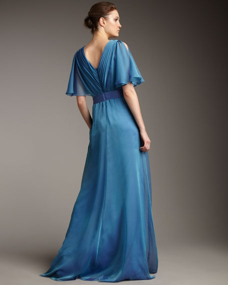 Flutter-Sleeve Iridescent Gown