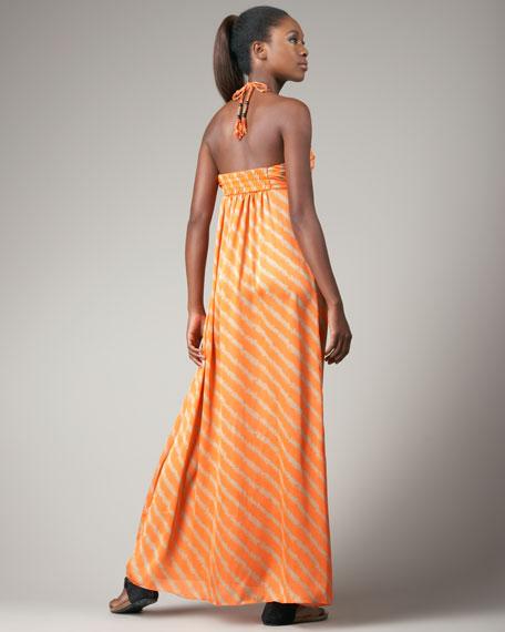 Striped Halter Maxi Dress