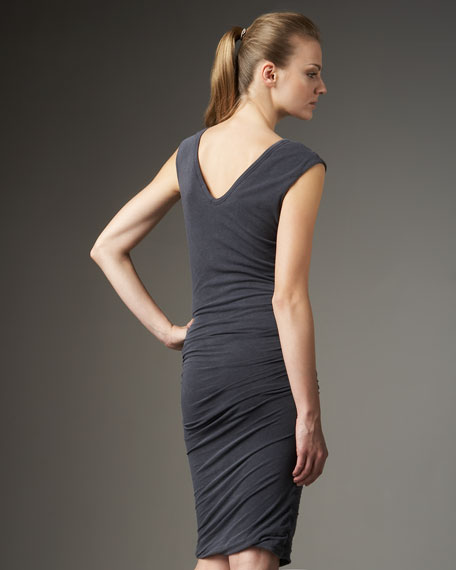 Cap-Sleeve Ruched Dress, Ink