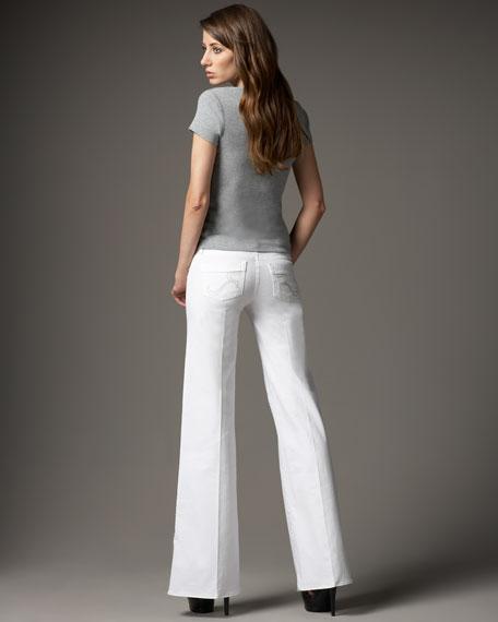 Kariana Wide-Leg Twill Pants, White