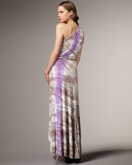 St. Tropez One-Shoulder Belted Maxi Dress