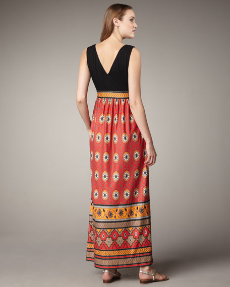 Combination Printed Maxi Dress