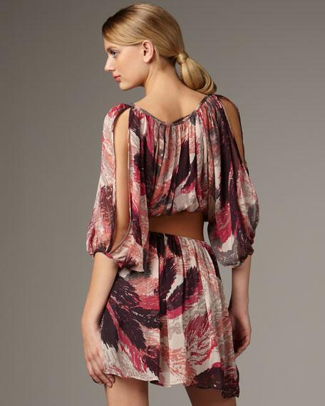 Monet Print Dress With Belt