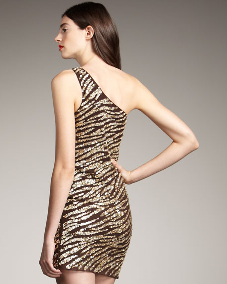 Sequined Zebra-Print Dress