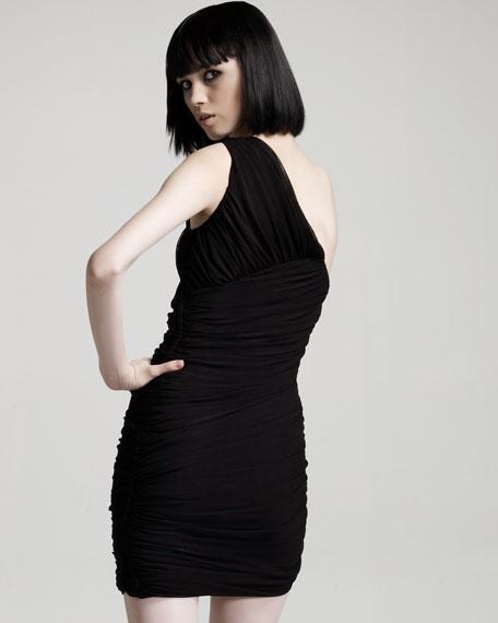Shirred One-Shoulder Dress