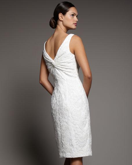 Lace Back-Knot Sheath Dress