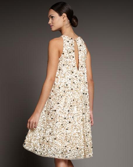Trapeze Keyhole Sequin Dress