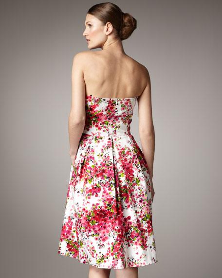 Floral Full-Skirt Pleated Dress