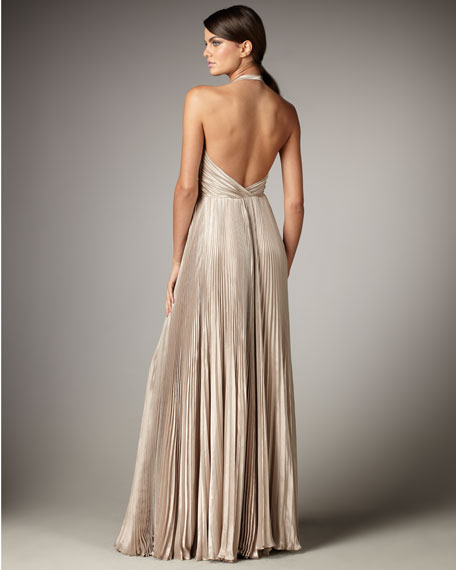 Pleated Metallic Halter Gown