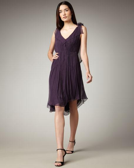 Contrast Beaded-Back Dress