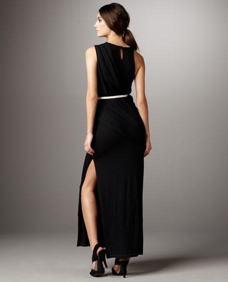 Belted Asymmetric Maxi Dress