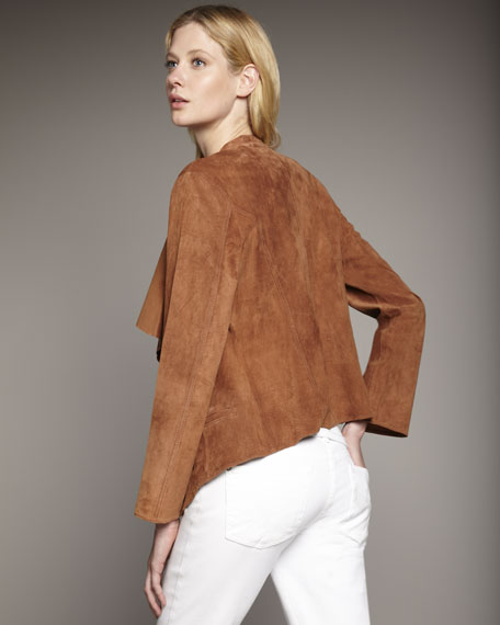 Cascading-Front Suede Jacket