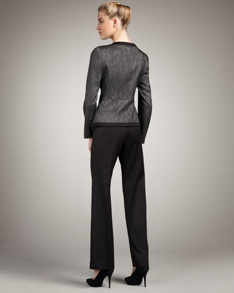 Front-Zip Denim & Sateen Suit