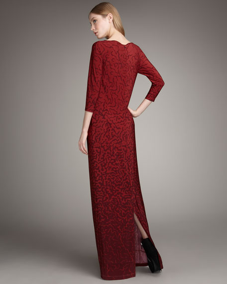 Three-Quarter Sleeve Maxi Dress