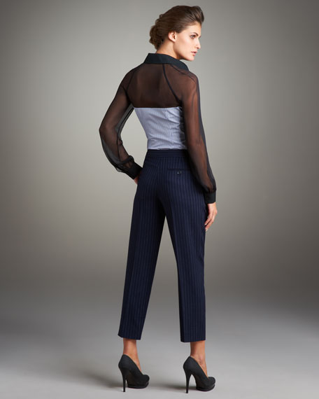 Pinstripe Pleated Trousers