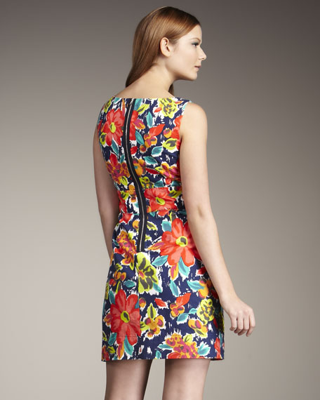 Split-Neck Floral-Print Dress