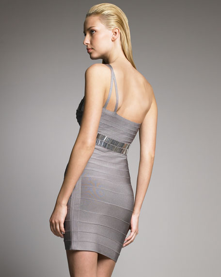 One-Shoulder Metallic Bandage Dress