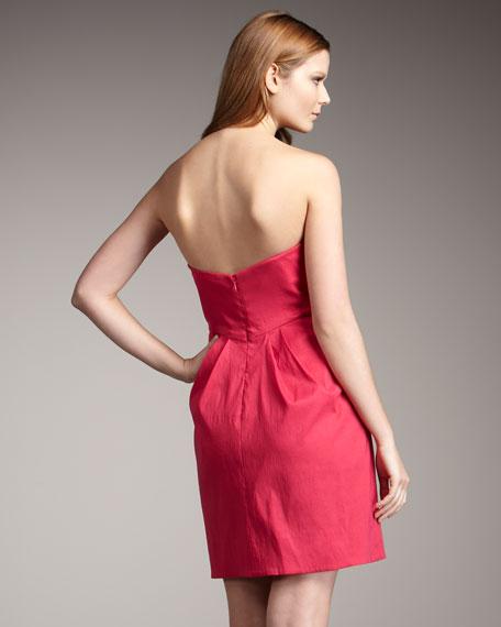 Taffeta Ruffle-Front Dress