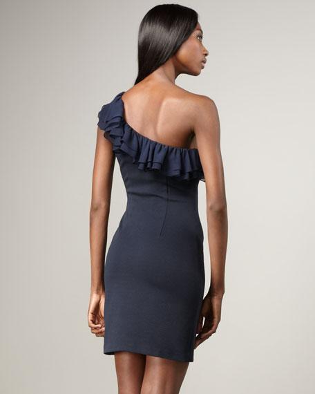 St. Tropez Ruffled One-Shoulder Dress, Navy