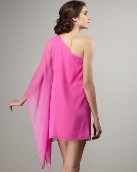Santorini Cape-Sleeve Dress